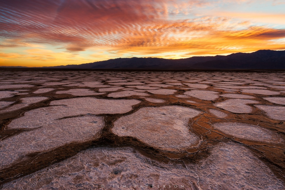 Salt and mud combine to create fascinating patterns in Death Valley National Park at sunset